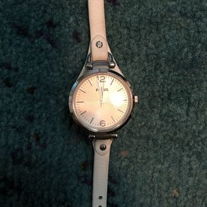 Fossil White Leather Watch